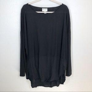 AVA & VIV High Low Tunic Top Long Sleeve Black 4X